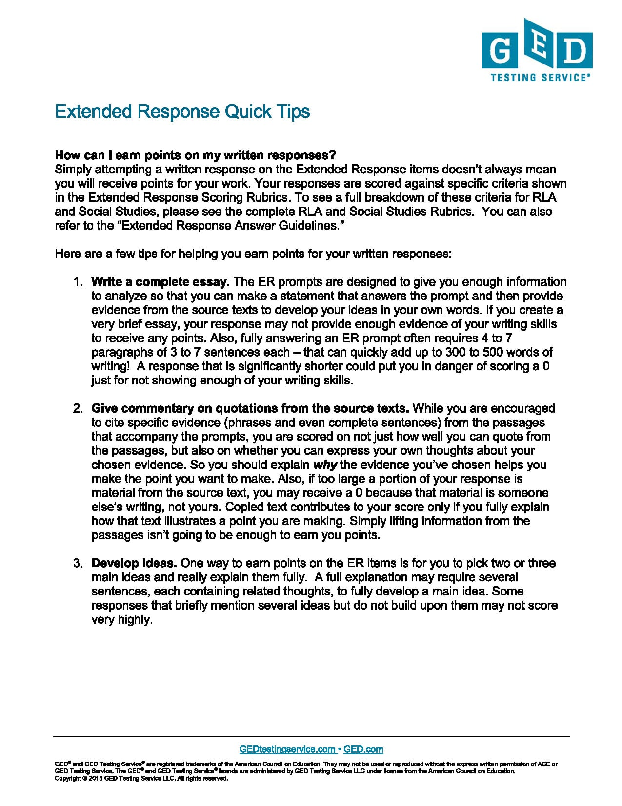 ged essay test tips The revised general educational development (ged) tests introduced in 1988 require higher-level analytical skills of examinees than previous tests the most immediate revision is the writing skills test, which requires examinees to demonstrate writing ability this guide provides the ged student .