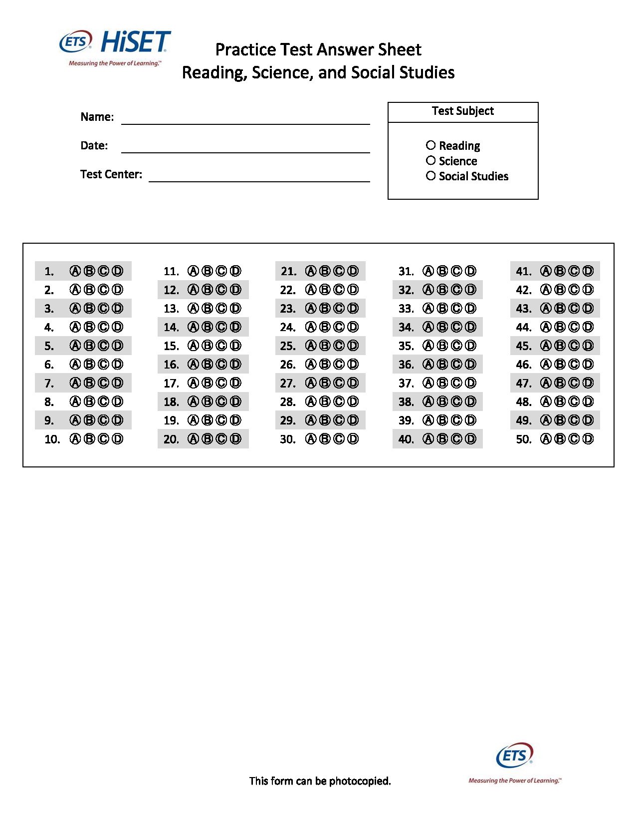 Ged math practice test and answers